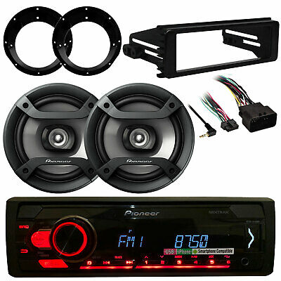 """98-2013 Harley FLHT FLHX Dash Kit,AM FM Stereo, Marine 6.5""""Speakers and Adapters"""