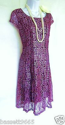 20's 30's Style Gatsby Vintage Look Lace Charleston Flapper Dress Size 16