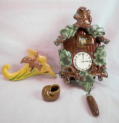 Lot of 3 Ceramic Wall Pocket Flower Pots Cuckoo Clock Horn With Bird Hall Shell