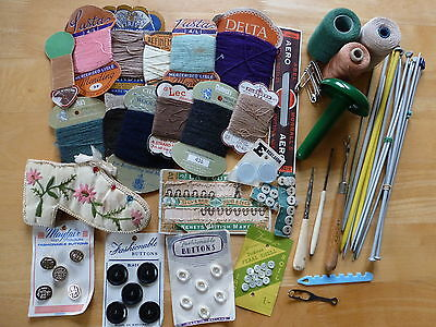 Vintage Sewing Knitting Crochet Haberdashery Collection Job Lot