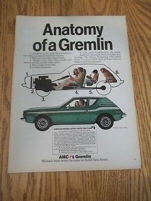 1973 ORIGINAL VINTAGE PRINT AD FOR AMC GREMLIN car advertisement AMERICAN MOTORS