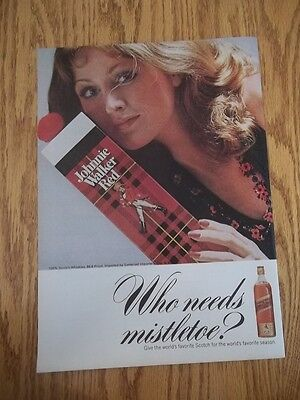 1973 Vintage Print Ad For Johnnie Walker Red Scotch Whisky Who Needs Mistletoe?