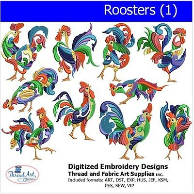 Embroidery Design Set - Roosters (1) - 10 Designs - 9 Formats - USB Stick