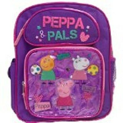 """Peppa Pig & Pals Small Backpack 12"""" inches BRAND NEW for Girls Licensed Product"""