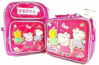 """Peppa Pig Small Backpack 12"""" inches & Lunch Box BRAND NEW Licensed Product"""