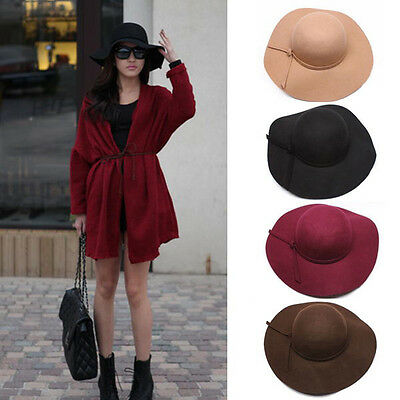 New Women's Lady Wide Brim Wool Felt Bowler Fedora Hat Floppy Sun Beach Cap