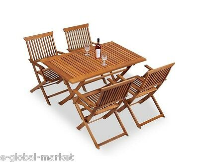 5PC Folding Acacia Wood Table Set 4 Chairs Dining Table