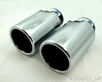 Universal Sport Chrome Twin  Exhaust Tail Tip Muffler Pipe Pipes Trim New 430