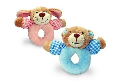 Korimco - Babys First Rattle 'Bear' Blue 13cm - BRAND NEW