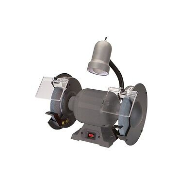8 in. 3450 RPM Bench Grinder with Gooseneck Lamp for optimal visibility