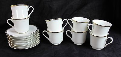 Lot of 8 Tea Coffee Cups & Saucers China W Gold Trim Sheffield Regency Porcelain