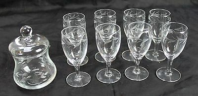 Lot of 8 Etched Flower Clear Glass Water Cordial Glasses Cream Pitcher Covered