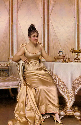 Oil painting Frederic Soulacroix - afternoon tea nice young noble lady sitting