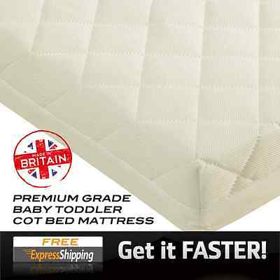 Baby Cot Mattress Junior Toddler Quilted Waterproof Cot Bed Mattress - All Sizes