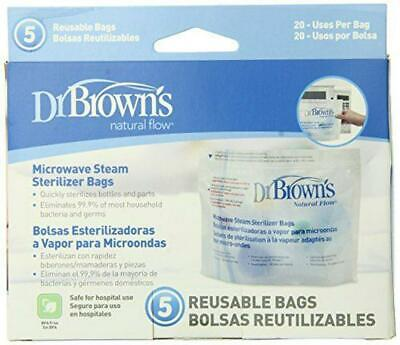 Dr. Brown's Microwave Steriliser Bags (5 Bags Per Pack) For Baby Bottle Parts Fr