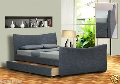 Garda Fabric 4 Drawers Storage Sleigh Beds King Size 5FT, Double 4FT6 Bed+Memory