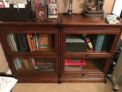 Pair of two-stack Barrister Bookcases.  Cherry Colored.  American, Early 20th C