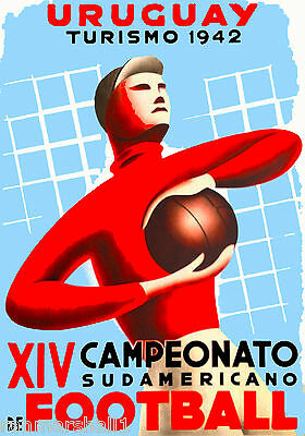 1942 World Cup Soccer Football Uruguay Sports Travel Advertisement Poster