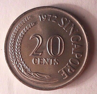 1972 SINGAPORE 20 CENTS - AU - Excellent Exotic Coin - SNG BIN
