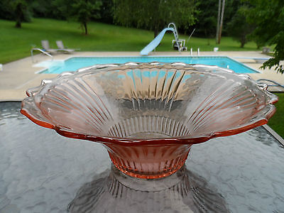 """Pink Mayfair """"open Rose"""" 12"""" Hat Deep Bowl By Hocking Depression Glass 1931-37"""
