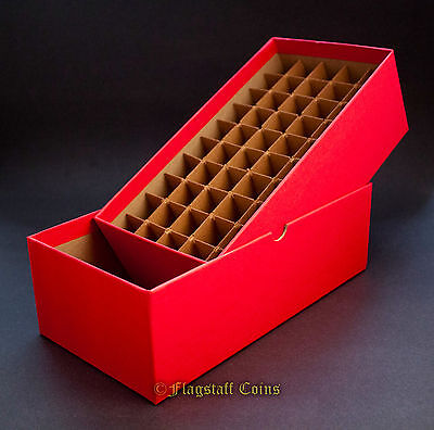 Guardhouse Coin Storage Box, Red - Cent/Penny - Holds 50 Square/Round Tubes