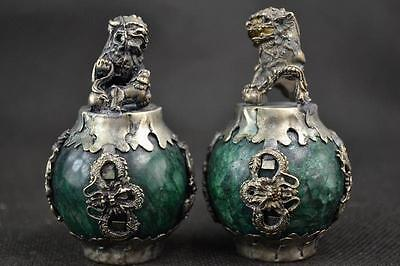 Hand Green Jade Armoured Dragon Phoenix Carving Kylin Pair Statue