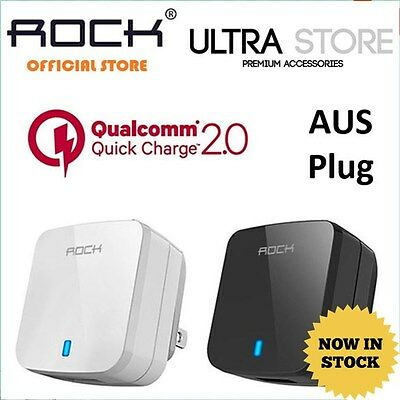Genuine ROCK 16.2W Qualcomm Fast Charger 2.0 Travel Wall Home Adapter AUS Plug