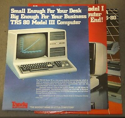 TRS-80 Model I III and printer brochures from the 1980s by Tandy Electronics