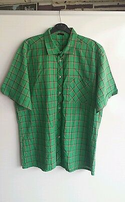Mens Vintage Green and Red Check Short Sleeve Shirt Size XL