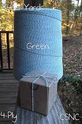 Green + White Variegated Cotton Baker's Twine 2 lb. Cone - 3,400 Yards 4-Ply
