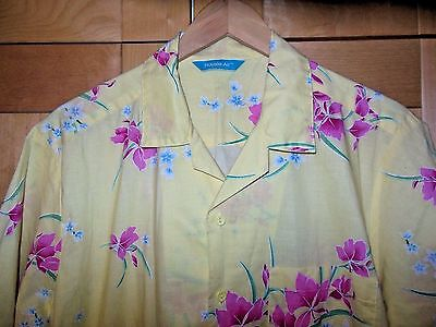 Vintage 80's Royale Air Men's Yellow & Pink Floral Cotton Hawaiian Camp Shirt M