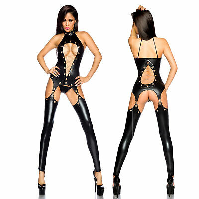 Wetlook Straps Set Ketten Ösen Body Lack Leder Top Dessous Strapse Schwarz 34-42