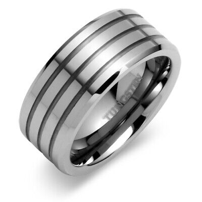Beveled Edge Triple Grooved 9mm Comfort Fit Mens Tungsten Ring Sizes 8 to 13