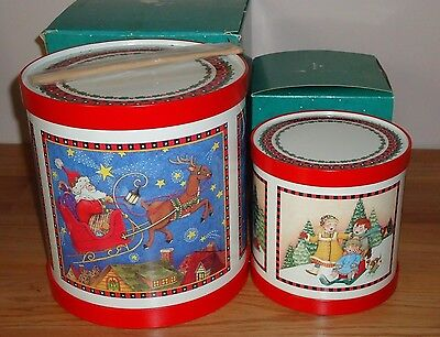 Mary Engelbreit Christmas TINS DRUMS Set w/Boxes HALLMARK decorations