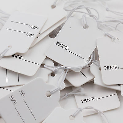 New 100PCS Jewelry Clothes Label Price With Elastic String Paper Tags 28x18mm