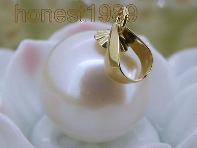 Genuine natural 11.5mm pretty white south sea pearl pendant 14k yellow gold gift