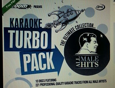 Zoom Karaoke Cdg     All Male Hits Turbo Pack  221 Top Tracks On 10 Discs    New