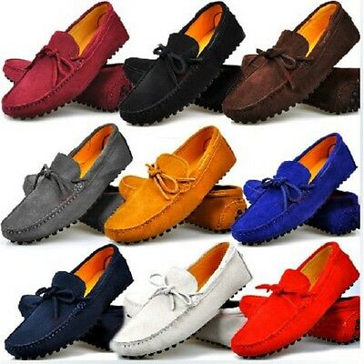 US Size 5-12 New Genuine Leather Mens Casual Driving Loafers Flats Slip On Shoes