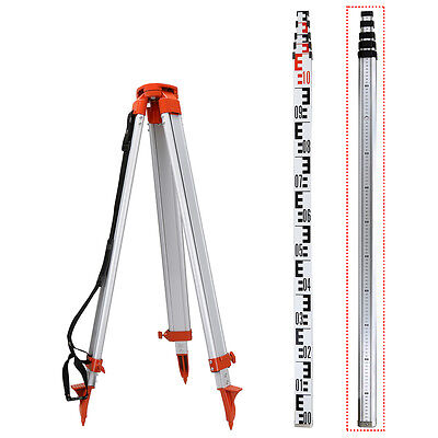 Portable 1.6M Aluminum Tripod / 5M Staff For Rotary Laser Level  Dural
