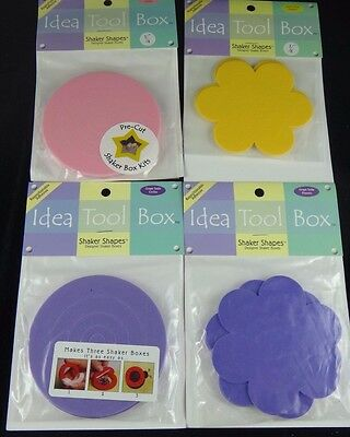 Foam Boxes Shaker Shapes Crafts Project - Circle / Flowers / Purple / Yellow