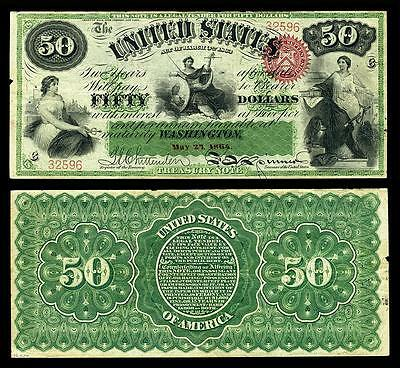 Nice Crisp Unc. 1864 U.s. $50.00 Greenback Bank Copy Note! Read Description