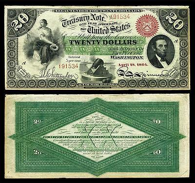 Nice Crisp Unc. 1864 U.s. $20.00 Greenback Bank Copy Note! Read Description