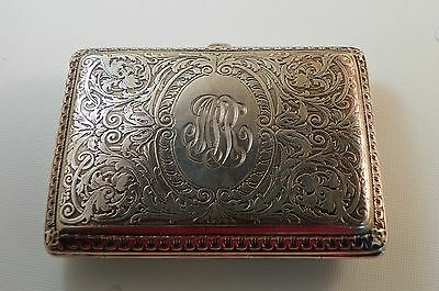 Card or Cigarette Case  American Sterling Silver by Kerr.  Circa 1910