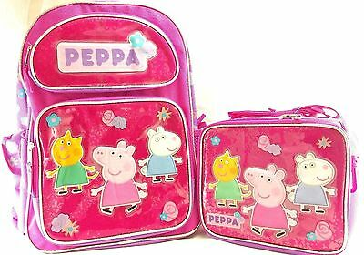 """Peppa Pig Large 16"""" inches Backpack & Lunch Box Girls Licensed Product"""