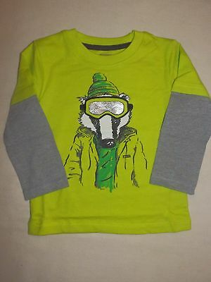 Gymboree ICE ALL STAR Boys Lime Green Badger Tee Shirt NWT 2T