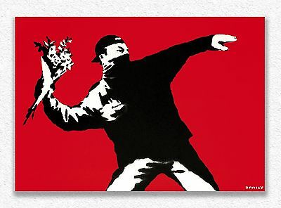 Banksy    Love is in the Air   70x100 cm  STAMPA TELA CANVAS PRINT TOILE LIENZO