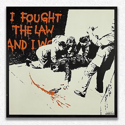Banksy    I Fought the Law    80x80 cm    STAMPA TELA CANVAS PRINT TOILE LIENZO