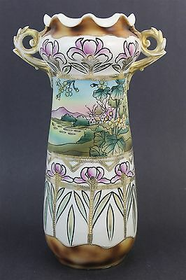 "Antique Art Nouveau Austrian Pottery Scenic Painted 13"" Purple Floral Vase"