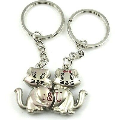 FD898 Sweet Smiling Cat Lover Keychain Keyring Keyfob Gift ~1 Pair 2pcs~