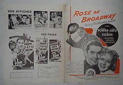 TYRONE POWER+ALICE FAYE/ROSE OF WASHINGTON SQUARE/ french pressbook